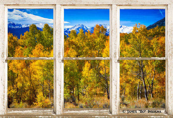 Independence Pass Autumn Colors wht peel window 850s 584x400 NEW Independence Pass Autumn Colors Rustic Window View