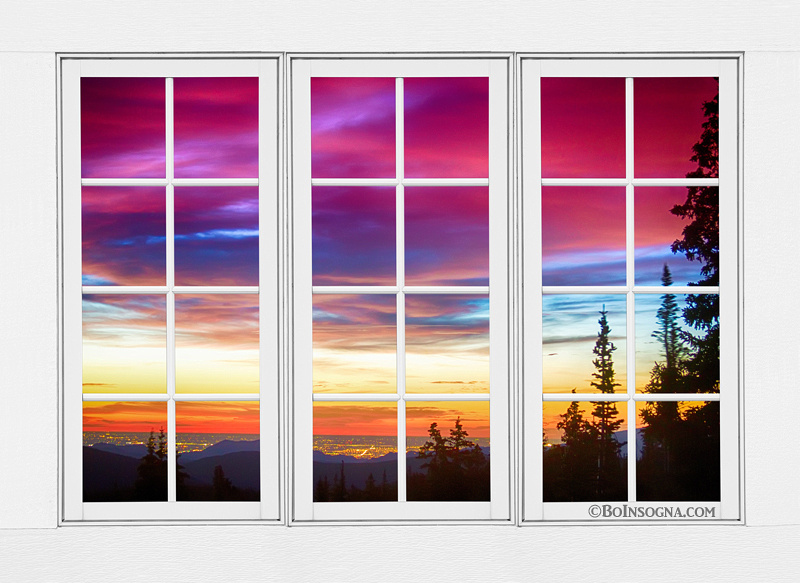 City Lights Sunrise View Through White Window Frame