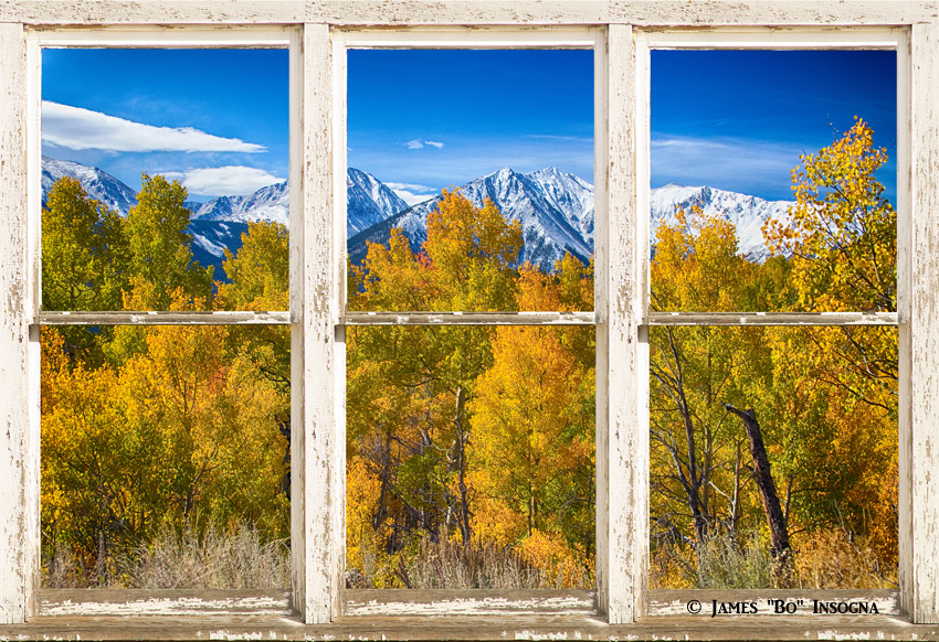 Independence Pass Autumn View White Rustic Picture Window