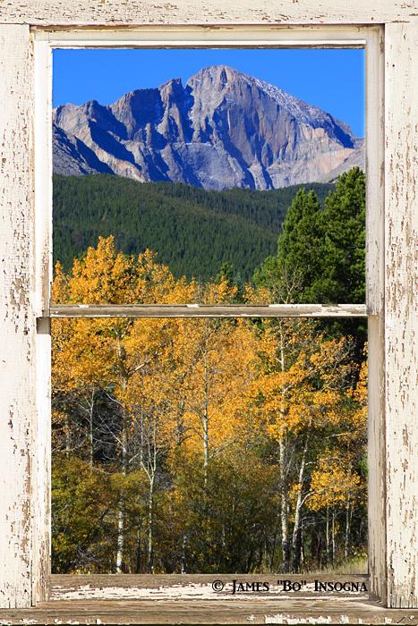 Longs Peak White Rustic Peeling Window Frame View