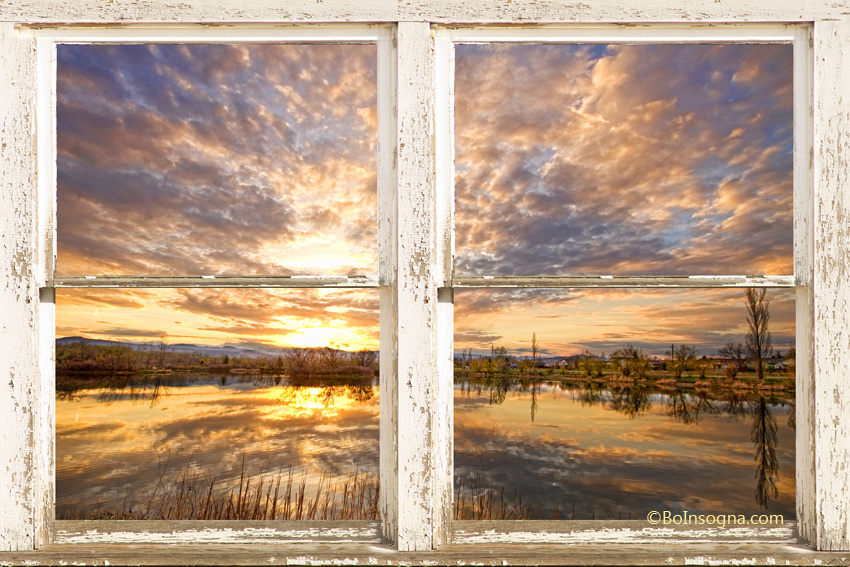 Sunset Reflections Golden Ponds 2 White Farm House Rustic Window