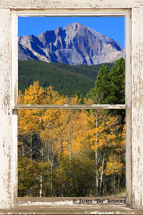 longs peak autumn wht rustic window view24x36 700s Longs Peak White Rustic Peeling Window Frame Autumn View